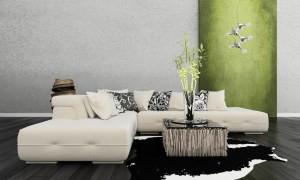 modernes zimmer mit grüner wand