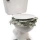 Dollarscheine die aus der Toilette herausquellen